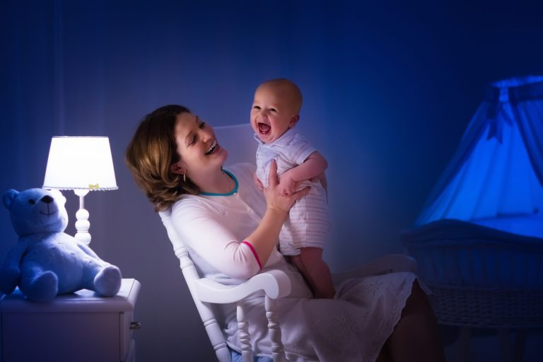 baby and mother preparing for bed